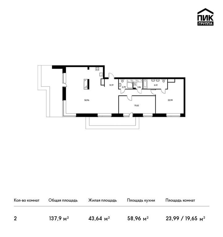 2-комнатная квартира в ЖК Вавилова 4