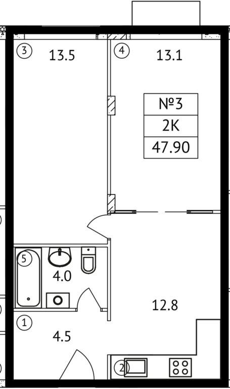 2-комнатная квартира в ЖК АиБ