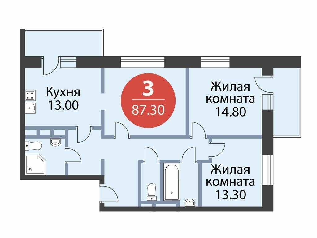 3-комнатная квартира в ЖК Атлас-дом