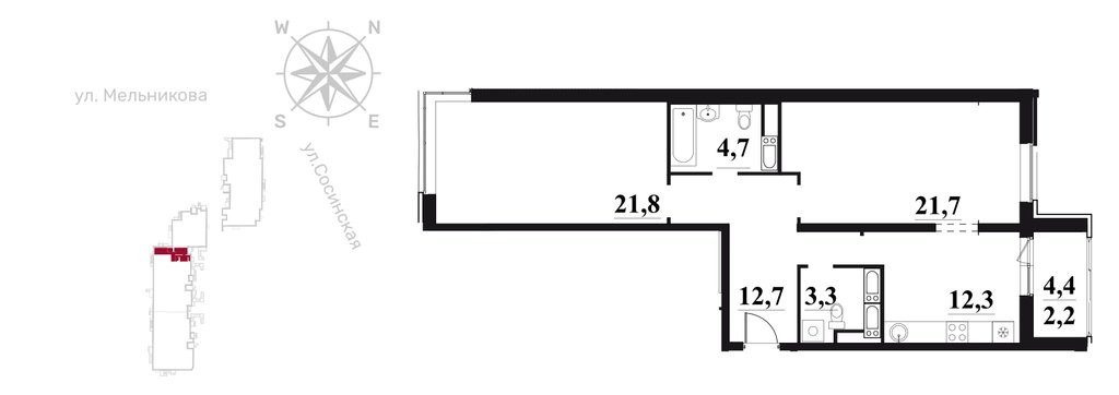 2-комнатная квартира в ЖК на ул. Мельникова