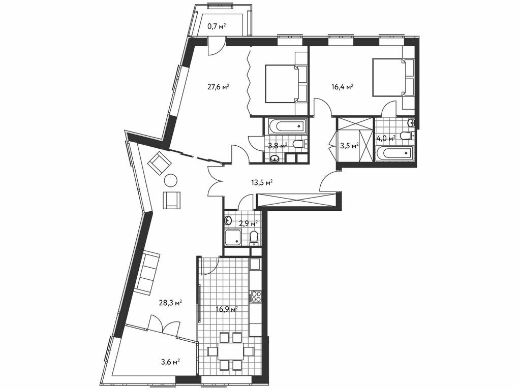 3-комнатная квартира в ЖК Лидер на Масловке