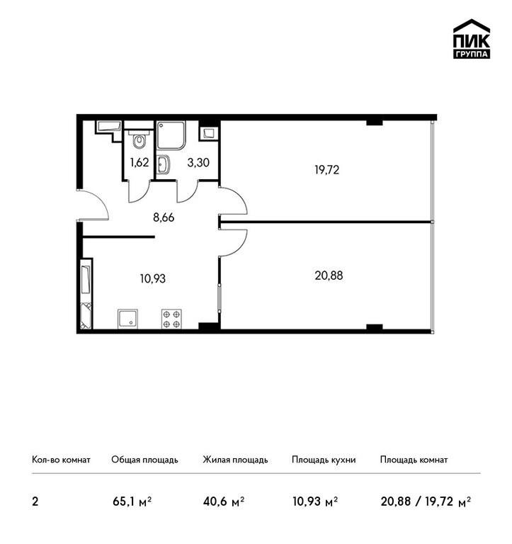 2-комнатная квартира в ЖК Изумрудный