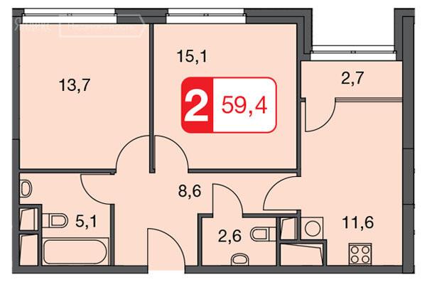 2-комнатная квартира в ЖК Волга