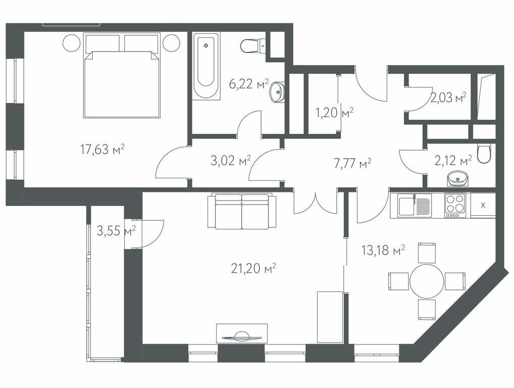 2-комнатная квартира в ЖК Дом в Олимпийской деревне