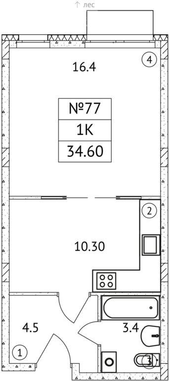 1-комнатная квартира в ЖК АиБ