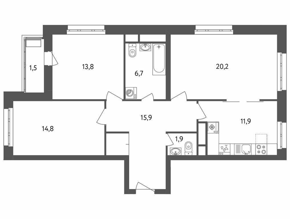 3-комнатная квартира в ЖК Дом на Вешняковской