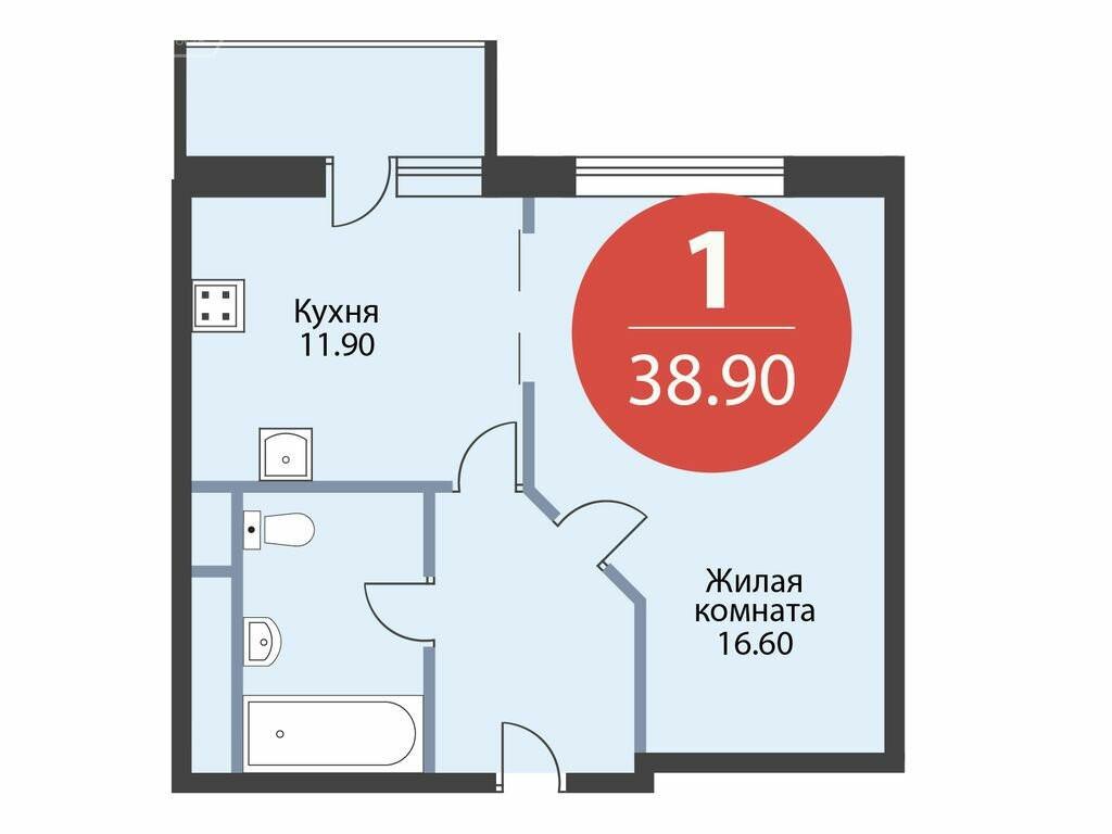 1-комнатная квартира в ЖК Дом на Вешняковской