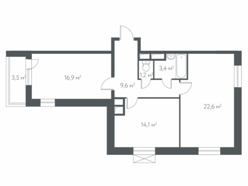 2-комнатная квартира в ЖК Дом в Мневниках
