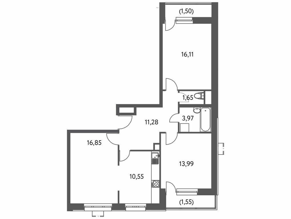 3-комнатная квартира в ЖК Лидер на Волгоградском
