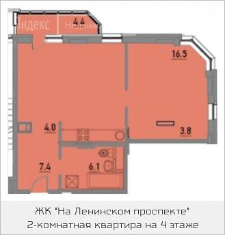2-комнатная квартира в ЖК на Ленинском проспекте