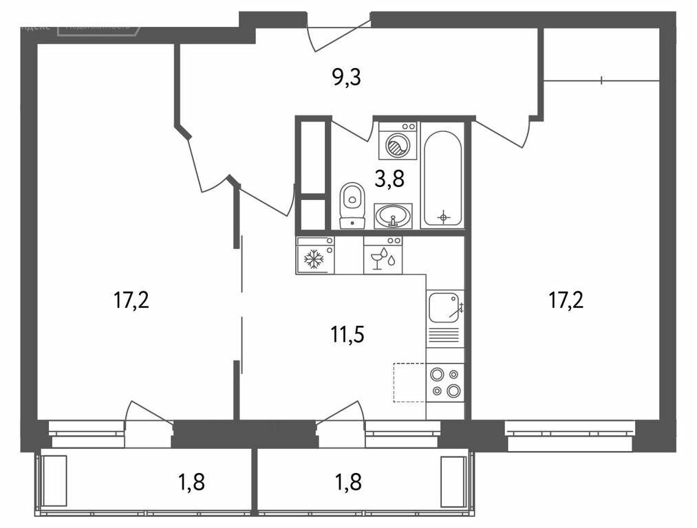 2-комнатная квартира в ЖК Дом на Вешняковской