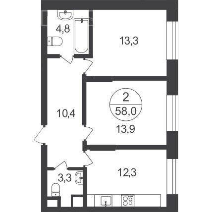 2-комнатная квартира в ЖК Первый Московский