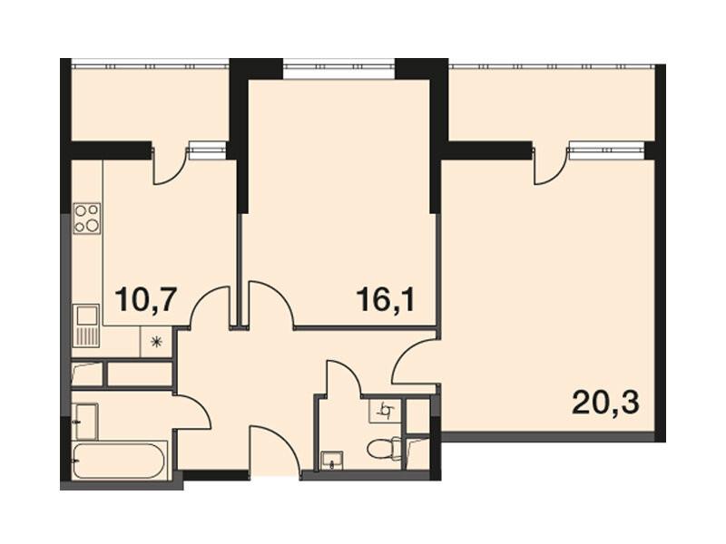 2-комнатная квартира в ЖК Новогиреевский