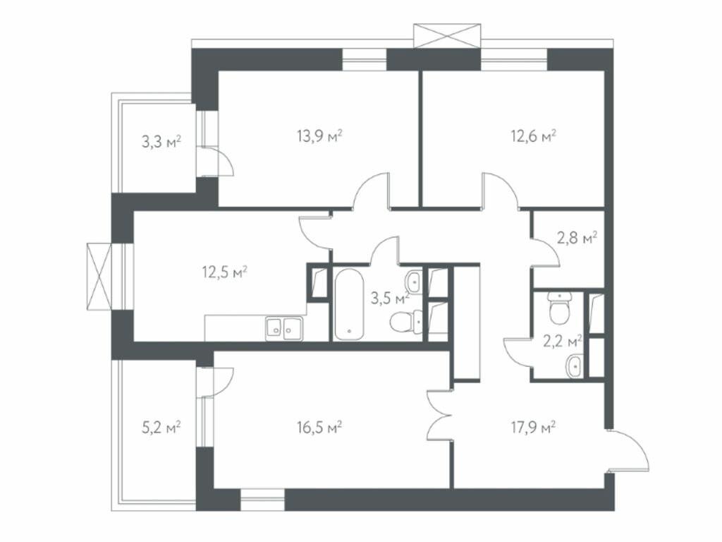 3-комнатная квартира в ЖК Дом в Мневниках