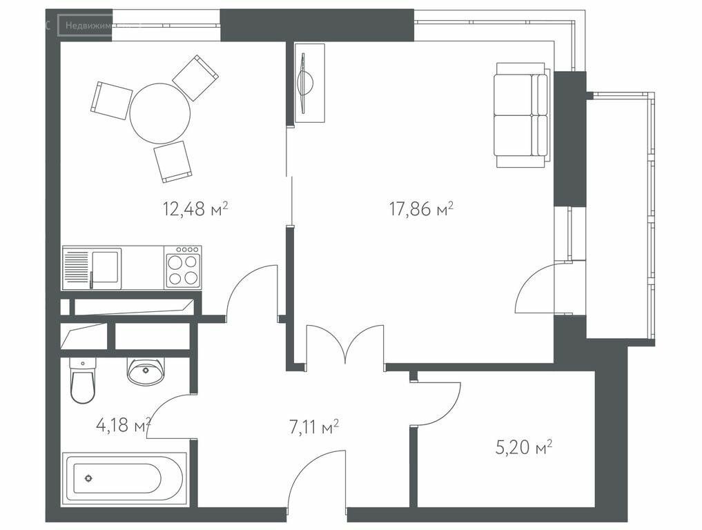 1-комнатная квартира в ЖК Дом в Олимпийской деревне