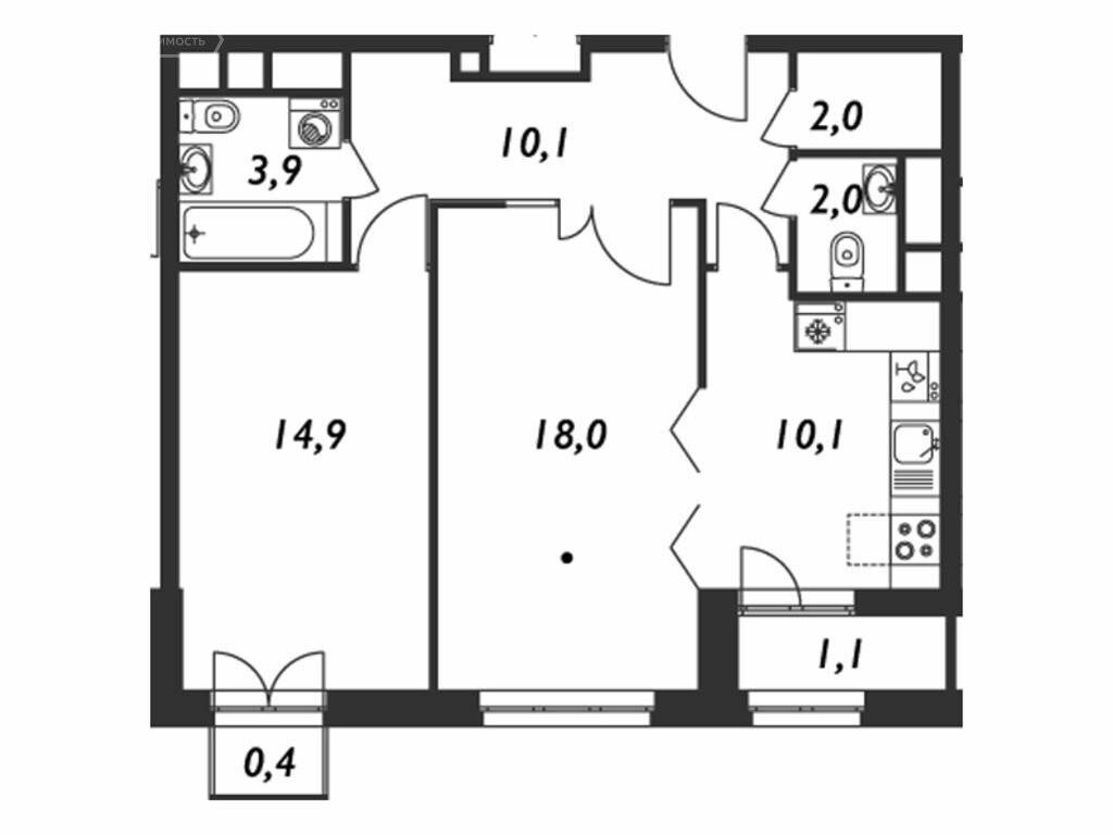 2-комнатная квартира в ЖК Дом в Кусково