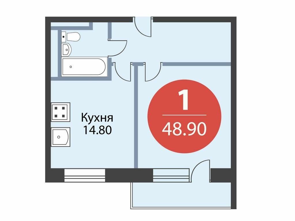 1-комнатная квартира в ЖК Лидер на Ленинском