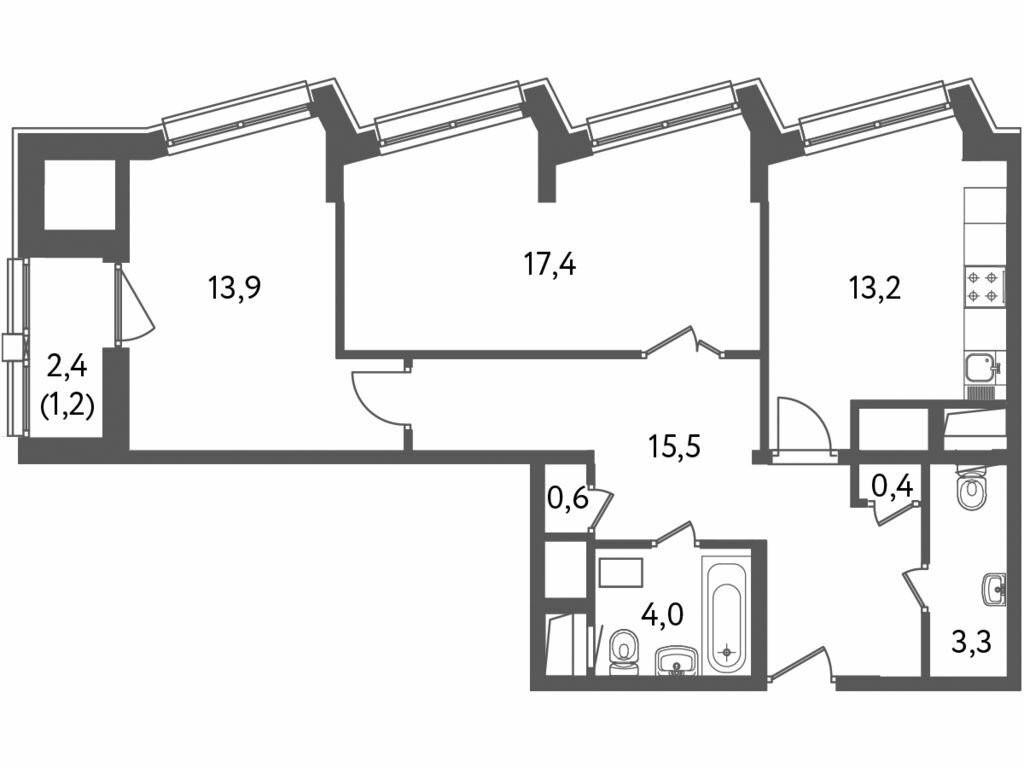 2-комнатная квартира в ЖК Лидер на Пресне
